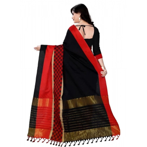 Black And  Red Color Cottn Silk  Saree