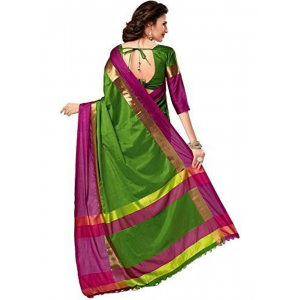 Green And Pink Color Cottn Silk  Saree