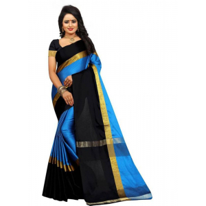 Black And Blue Color Cottn Silk  Saree