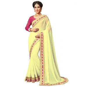 Yellow Color Georgette Saree with Blouse
