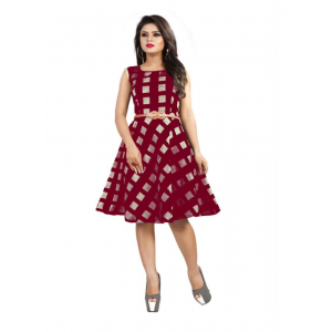 Red Color American Crepe Western Dress