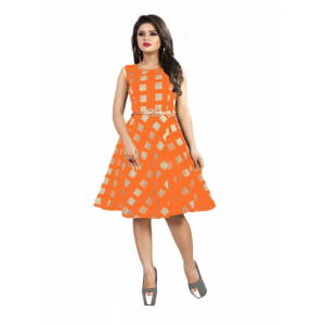 Orange Color American Crepe Western Dress