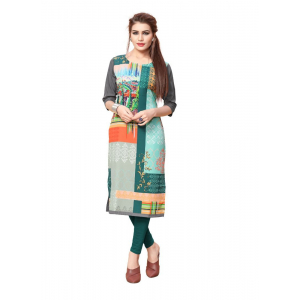 Green And Grey Color Crepe Kurti