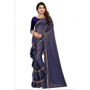 Blue Color Lycra Saree with Blouse