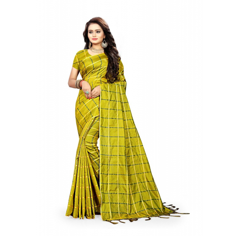 Green Color Sana Checks  Saree