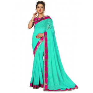 Turquoise Color Satin Saree with Blouse