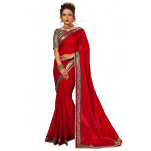 Red Color Chiffon Saree with Blouse