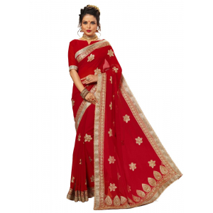 Red Color Georgette Saree with Blouse