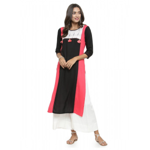 Pink And Black Color Rayon Kurti
