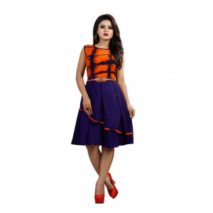 Orange Color Rayonand American Crepe Western Dress