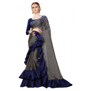 Black  And Navy Blue Color Lycra  Saree with Blouse