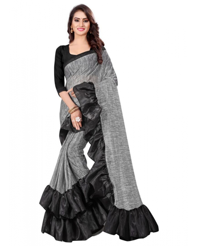 Ash Color Lycra  Saree with Blouse