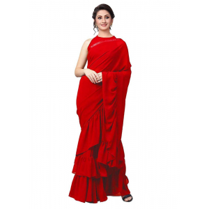 Red Color Vichitra Silk  Saree with Blouse