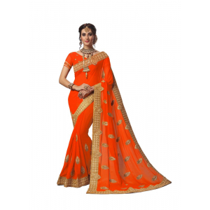 Orange Color Georgette Saree with Blouse