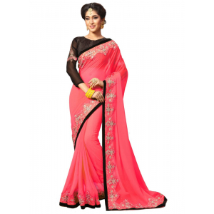 Pink Color Georgette Saree with Blouse