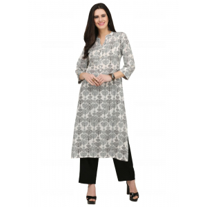 Offwhite And Black Color Cotton Kurti