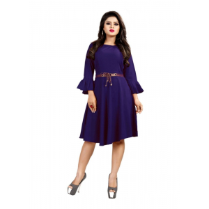 Blue Color American Crepe Western Dress