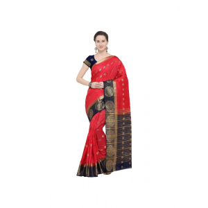 Red Color Silk  Saree with Blouse