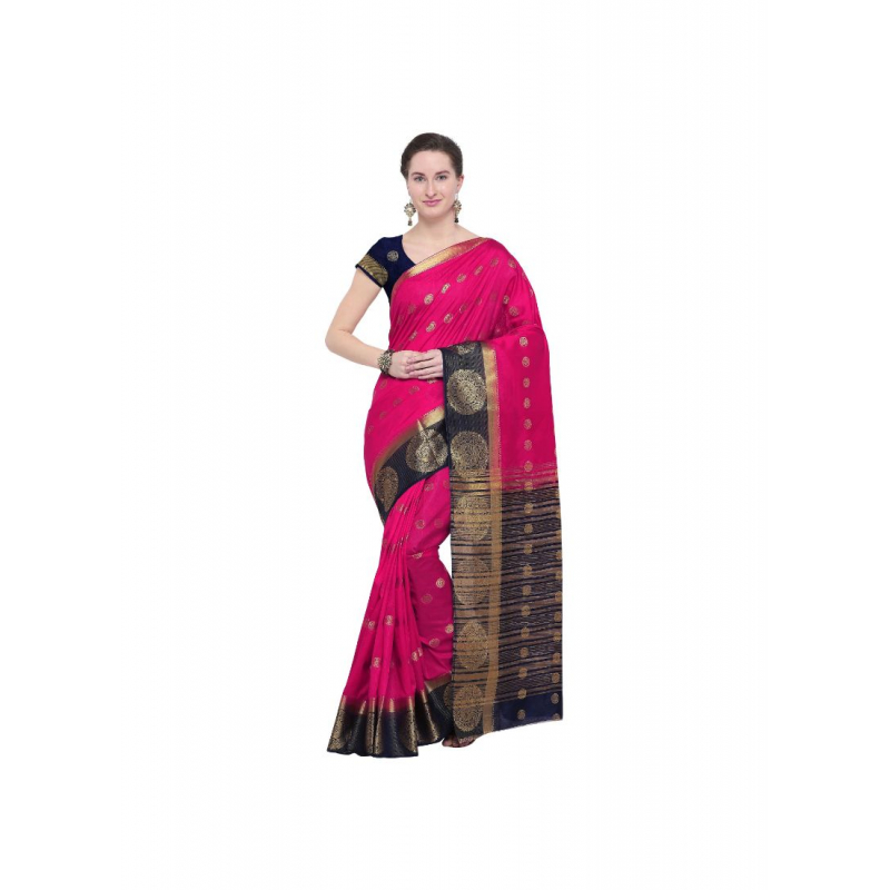 Pink Color Silk  Saree with Blouse