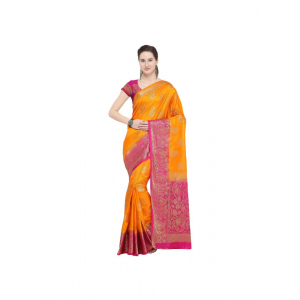 Orange Color Silk  Saree with Blouse