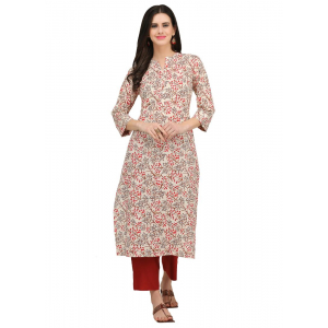 Offwhite And Multi Color Cotton Slub Kurti