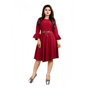 Maroon Color American Crepe Western Dress