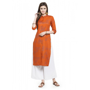 Orange Color Rayon Kurti