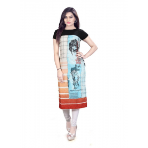 Sky Blue And Black Color Crepe Kurti