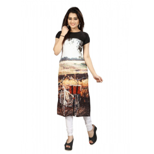 Black And Brown Color Crepe Kurti