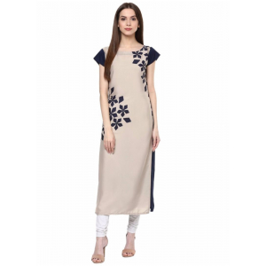 Cream And Black Color Crepe Kurti