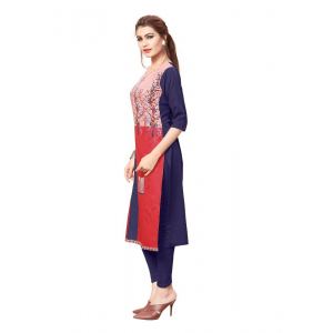 Red And Navy Blue Color Crepe Kurti