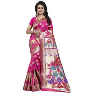 Pink Color Jacquard Saree with Blouse