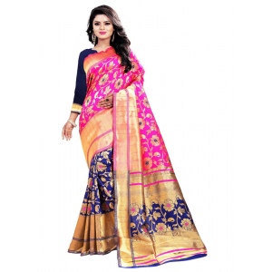 Pink,Bule Color Jacquard Saree with Blouse