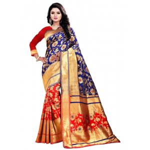 Blue,Red Color Jacquard Saree with Blouse