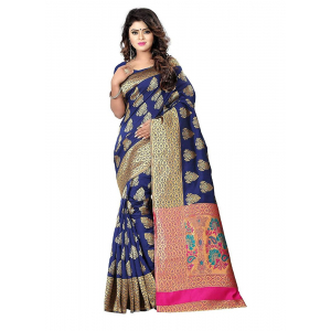 Blue Color Jacquard Saree with Blouse