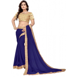 Navy Blue Color Georgette  Saree
