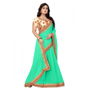 Pista Color Georgette  Saree