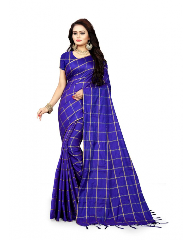 Blue Color Sana Checks  Saree