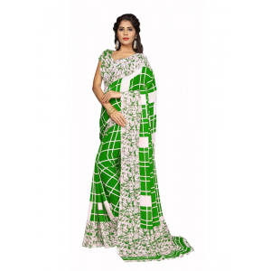 Green Color Faux Georgette  Saree
