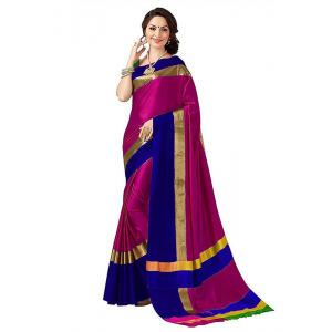 Pink And Blue Color Cottn Silk  Saree