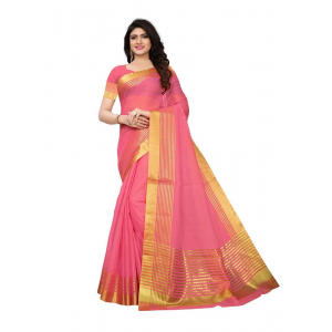 Rose Color Manipuri Cotton  Saree
