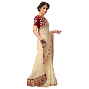 Beige Color Georgette Saree with Blouse