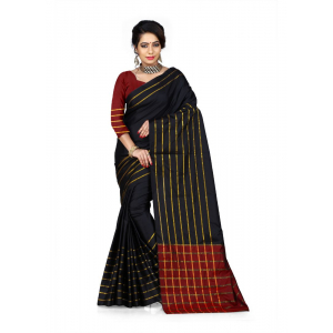 Black Color Cotton Silk Saree with Blouse