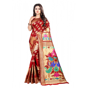Red Color Jacquard Saree with Blouse