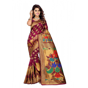 Purpal Color Jacquard Saree with Blouse