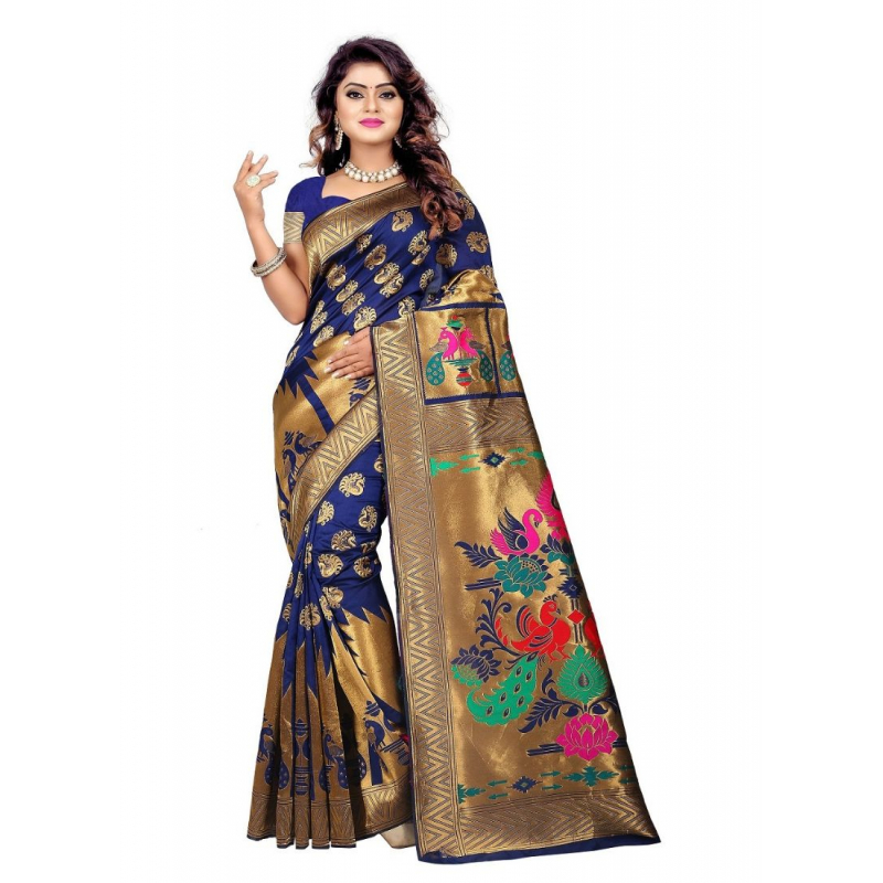 Bule Color Jacquard Saree with Blouse