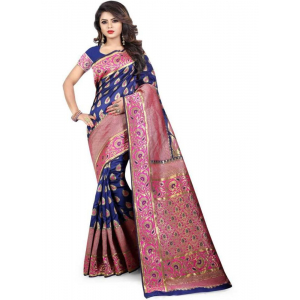 Blue Color Cotton Silk Saree with Blouse
