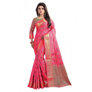Pink Color Cotton Silk Saree with Blouse