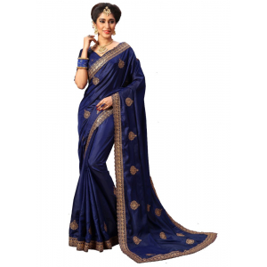 Navy Color Silk Saree with Blouse