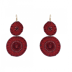 Generic Women's Brass Earrings (Red, free Size)